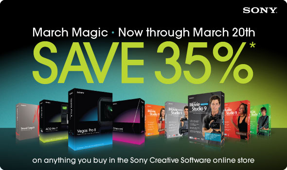 Save 35% on anything you buy in the Sony Creative Software Online Store