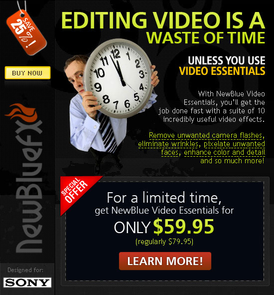 Special Offer from NewBlueFX for Sony Vegas customers