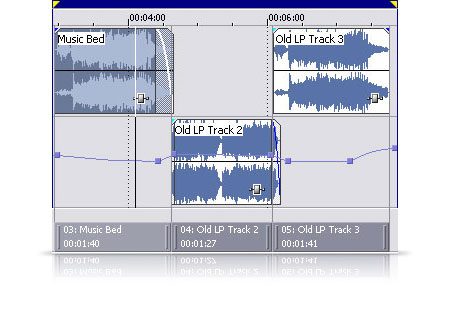 Use tiered audio layering to create complex crossfades and DJ-style megamixes.