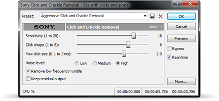 Adjust sliders on the click and crackle tool to remove unwanted sounds.