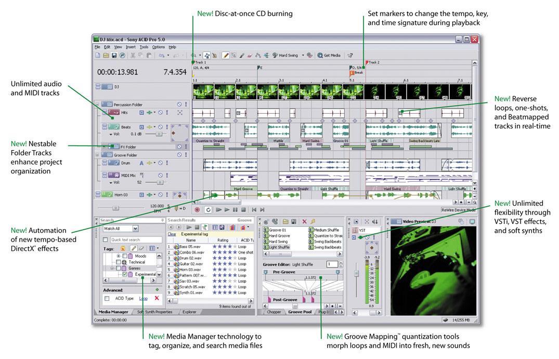 В подразделе с редакторами аудио обновление знаменитой Sony ACID PRO.