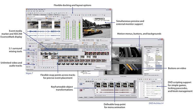 Sony Vegas 7.0d Build 192 + DVD Architect 4.0a Build 147 скачать