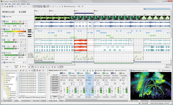 Acid Pro 7 - digital audio workstation, multitrack recorders, dj mixing software, music mixing softare, midi software