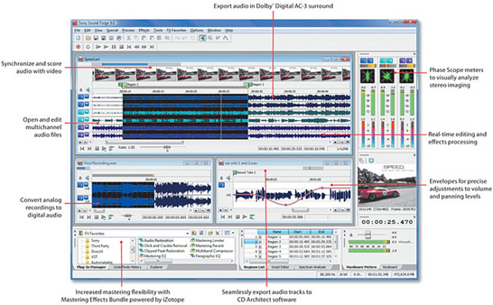Sound Forge 9 - mp3 editor - wave editor - audio recording software